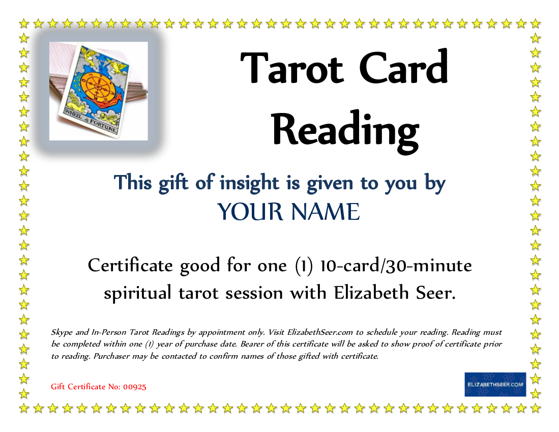 give the gift of tarot elizabeth seer see a sample certificate here gift certificate pricing