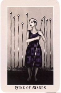 9 of Wands from the Silver Era Tarot (by Aunia Kahn and Russell J. Moon)
